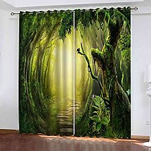 TDYGFC Blackout Curtains 2 Panels Set Green woods