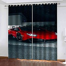 TDYGFC Blackout Curtains 2 Panels Set Red supercar