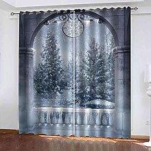 TDYGFC Blackout Curtains 2 Panels Set Winter snow