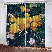 TDYGFC Blackout Curtains 2 Panels Set Yellow lemon