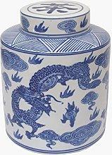 Tea Caddy/Storage Jar - Chinese Blue Dragon