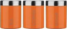 Tea, Coffee And Sugar Canister Set With Orange
