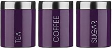 Tea, Coffee and Sugar Canister Set with Purple