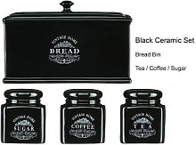 Tea Coffee Sugar Bread Bin Set OF 4 Black Vintage