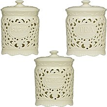 Tea Coffee Sugar Cream Ceramic Lace Canister Jar
