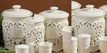 TEA COFFEE SUGAR JAR CANISTER STORAGE SET CERAMIC