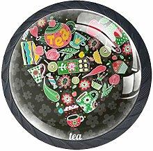 Tea Heart Deep Gray Crystal Drawer Handles