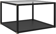 Tea Table Tempered Glass Transparent and Black