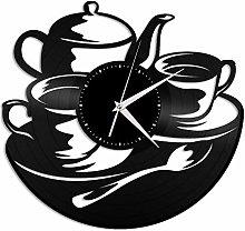 Tea time vinyl wall clock, vinyl record home