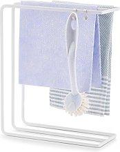 Tea Towel Holder with White Metal