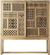 Teak 2-Door Cut Out Storage Cabinet