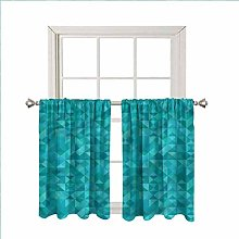 Teal Blackout Curtain Window Valances,Triangles