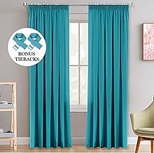 Teal Blackout Window Curtains Thermal Draperies