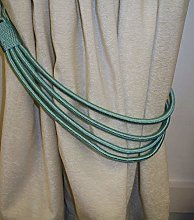 Teal Blue Cord Band Curtain Tie Back/Tieback by