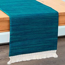 Teal Blue Round Table Runners With Macrame Lace