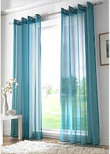 Teal Eyelet Ring Top Voile Curtain Panel 59x54