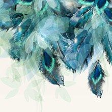 Teal Feathers Mural - Wallpaper Sample