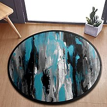 Teal Gray Black And White Abstract Area Rugs Round