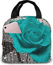 Teal Gray Rose Flower Lunch Bag Tote Bag Lunch Box