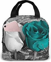 Teal Gray Rose Lunch Bag Tote Bag Lunch Box