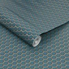 Teal Hexagon Lattice Wallpaper - Contour Antibac