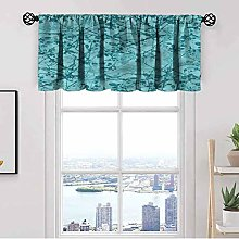 Teal Kitchen Curtain Valance,Ink Drawing Style