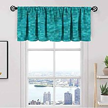 Teal Kitchen Curtain Valance,Triangles Squares