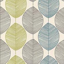 Teal / Lime Green - 408207 - Retro Leaf - Motif