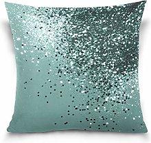 Teal Mermaid Ocean Glitter Throw Pillows Covers
