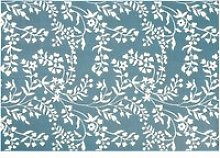 Teal Outdoor Rug with White Floral Print 160x230