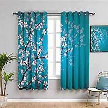 Teal Pink Blossoms Decor Fabric curtain Leaves and