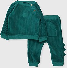 Teal Ribbed Velour Top & Leggings - Up to 1 mth