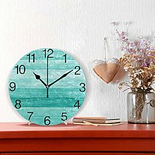 Teal Turquoise Green Wood Round Wall Clock, Silent