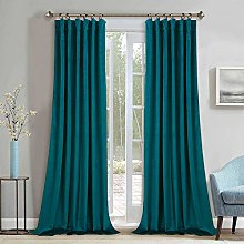 Teal Velvet Curtains 108 inches - Blackout