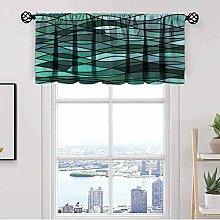 Teal Window Kitchen Curtain Valance,Mosaic Sea