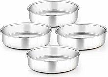 TeamFar 8 Inch Cake Pan, 4 Pieces Stainless Steel