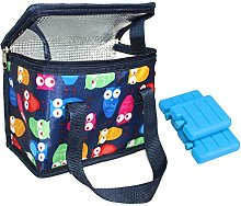 TEAMOOK Lunch Bag Soft Cooler Bags Blue Owl 1Pcs 6