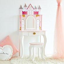 Teamson Kids Vanity Set Castle Dressing Table With Mirror & Stool Whit