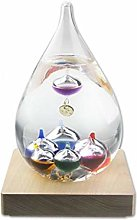 Tear Drop Shaped Glass Galileo Thermometer, with