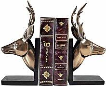 TEAYASON Bookends Gold Deer Head Bookends Office