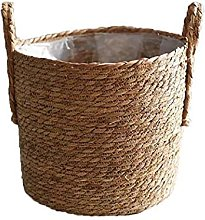 TEAYASON Plants Flower Basket, Straw Flower Pot,