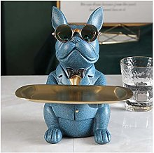 TEAYASON Sculpture Cool Bulldog Statue Table