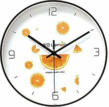 TEAYASON Wall Clock, Black Metal Border, Orange