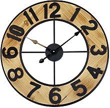 Technoline Analogue Quartz Wall Clock, Wood/Black,