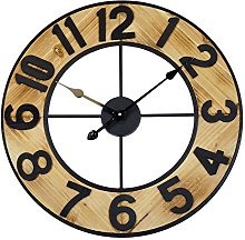 Technoline Analogue Quartz Wall Clock, Wood/Black,