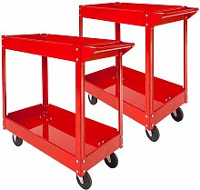 Tectake - 2 tool trolleys with 2 shelves - heavy
