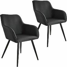 Tectake - 2x Accent Chair Marylin - black