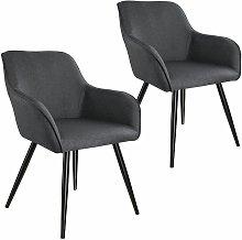 Tectake - 2x Accent Chair Marylin - dark grey/black