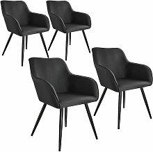 Tectake - 4x Accent Chair Marylin - black