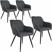 Tectake - 4x Accent Chair Marylin - dark grey/black